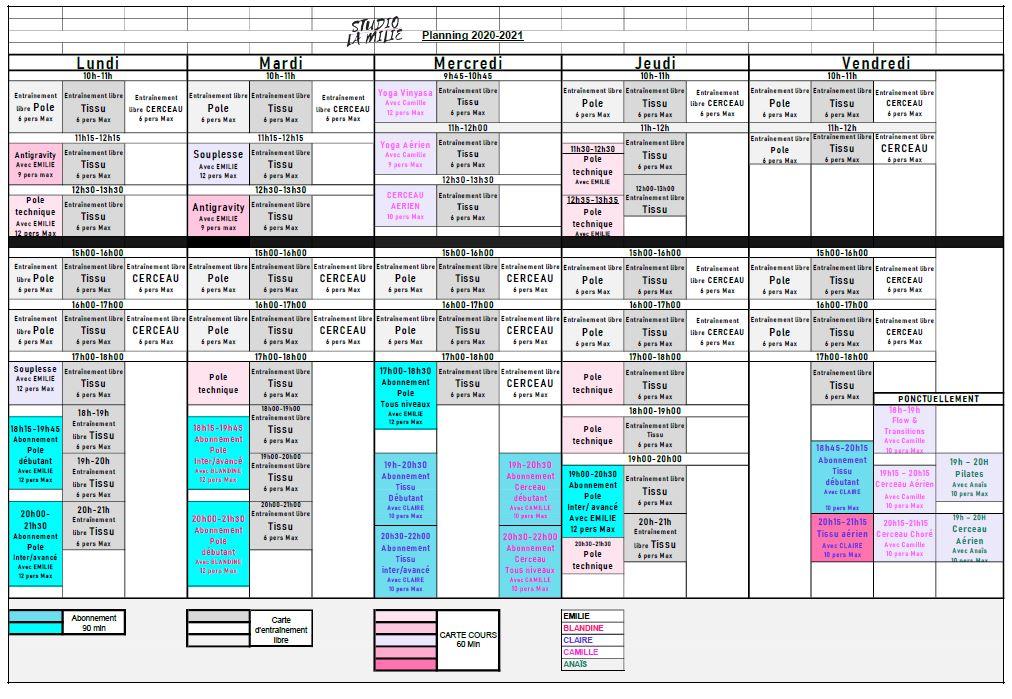 Planning La Milie 2020-2021